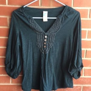 Anthropologie C. Keer Eyelet Lace Top Dark Green